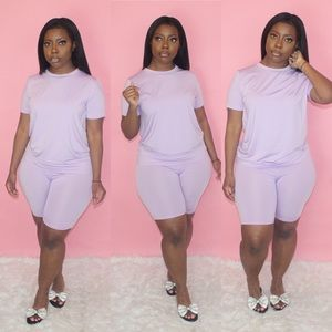 Lavender Biker Short Set